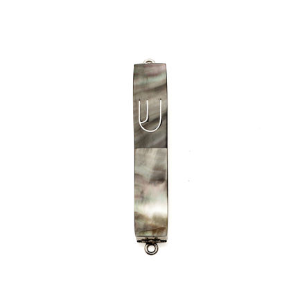 Picture of #HR-B041-B Black Mussel Shell Mini and Sterling Silver Mezuzah Case