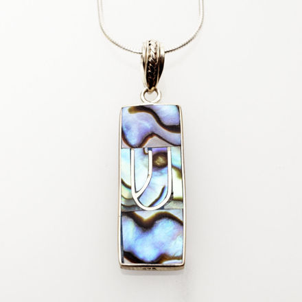 Picture of #B527-A Abalone and Sterling Silver Mezuzah Pendant