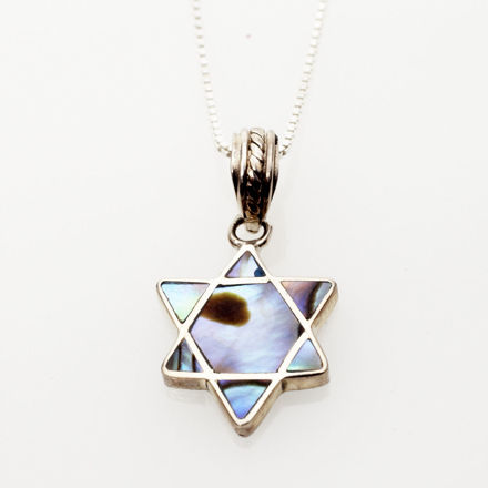 Picture of #B530-A Abalone and Sterling Silver Mini Star of David