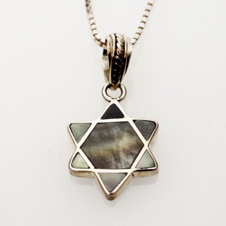 Picture of #B530-B Black Mussel Shell and Sterling Silver Mini Star of David