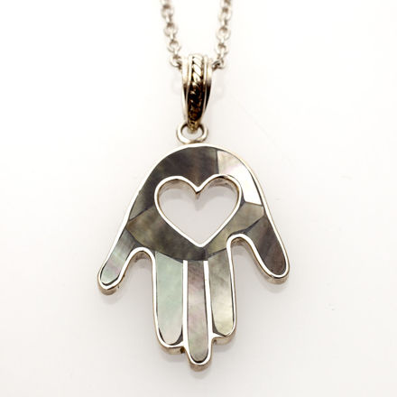 Picture of #B535-B Black Mussel Shell and Sterling Silver Heart Hamsa