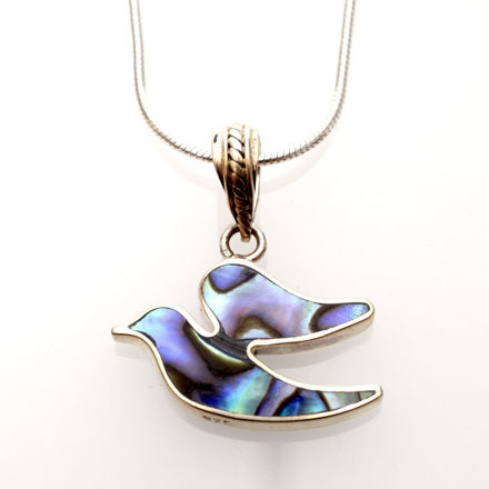 Picture of #B537-A Abalone and Sterling Silver dove of Peace