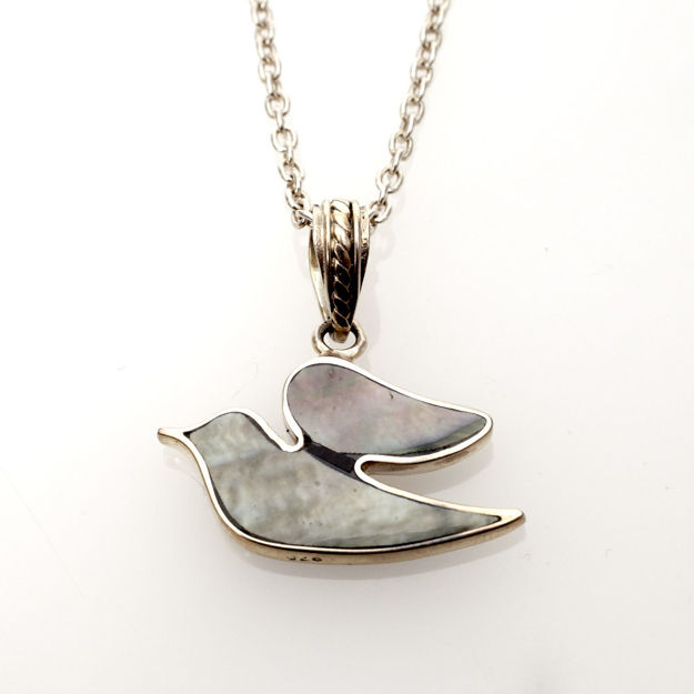 Picture of #B537-B Black Mussel Shell and Sterling Silver Dove of Peace