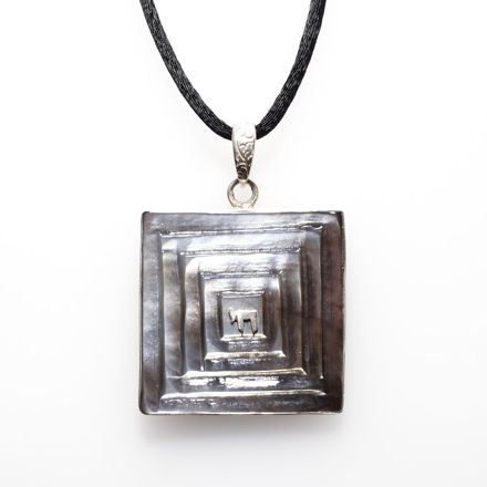Picture of #B542 Black Mother of Pearl and Sterling Silver Small Square Carved
