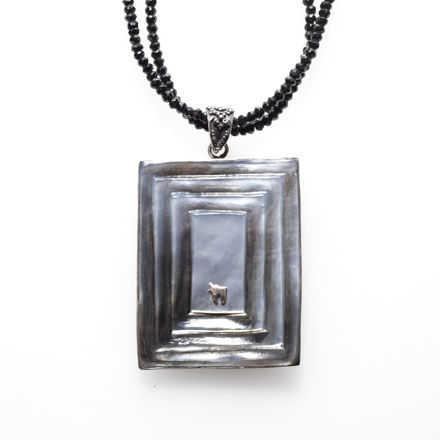 Picture of #B541 Black Mother of Pearl and Sterling Silver Rectangular Carved