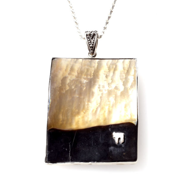 Picture of #B543 Black Mussel Shell and Sterling Silver