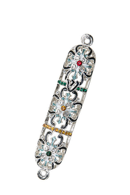 Picture of #4946 Jeweled Silver Flower Mezuzah case