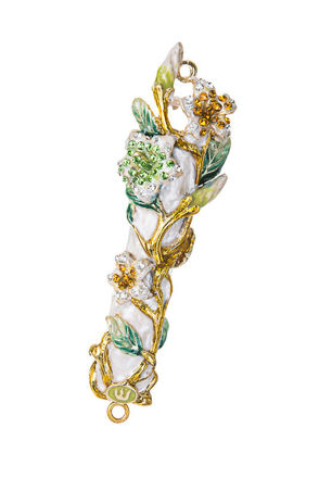Picture of Jeweled White Flower Mezuzah case