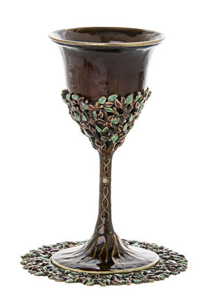 Picture of #6306 Enamel Brown Cup and Tray