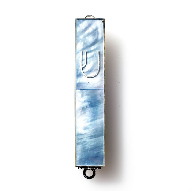 Picture of #HR-B041-BL Blue Mother of Pearl Mini Sterling Silver Mezuzah