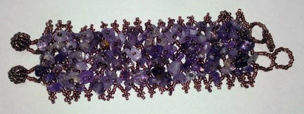 Picture of #B601-9 Gemstone and Glass Bead Bracelet