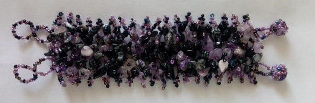 Picture of #B601-12 Gemstone and Glass Bead Bracelet