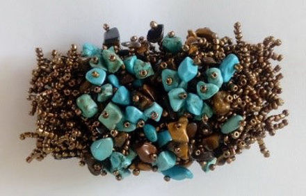 Picture of #B602-01Gemstone and Glass Bead Bracelet
