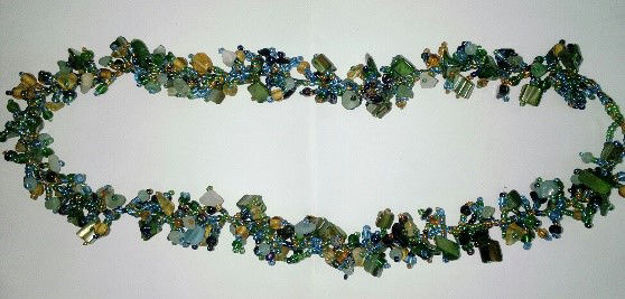 Picture of #B603-08 Gemstone Glass Bead Necklace