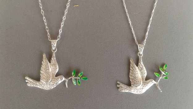 Picture of #C618 Dove with Olive Enamel Branch