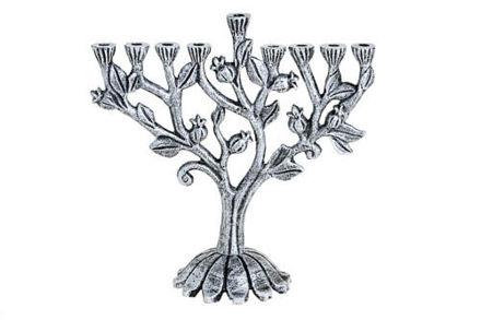 Picture of #203-S Menorah Pomegranates Silver