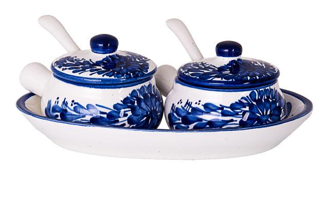 Picture of Ceramic Condiment  set Bowl -Tray blue/white
