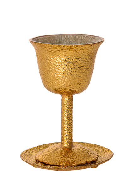 Picture of #104-G Hammered Gold Metal Kiddush Cup