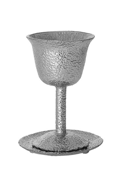 Picture of #104-S Hammered Silver Metal Kiddush Cup