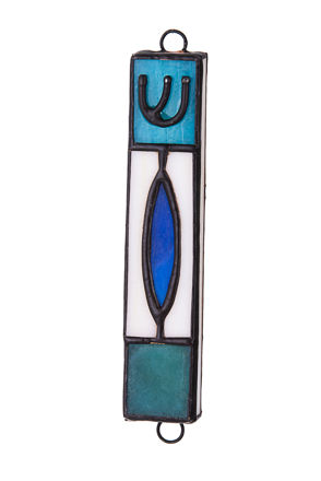 Picture of #C135 Stained Glass Blue Oval Mezuzah