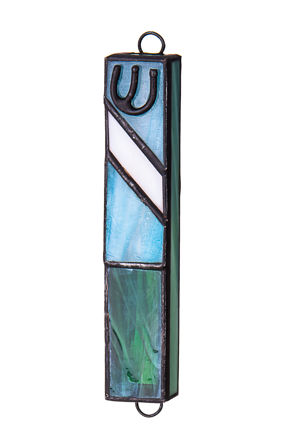 Picture of #C138 Stained Glass Blue Mezuzah