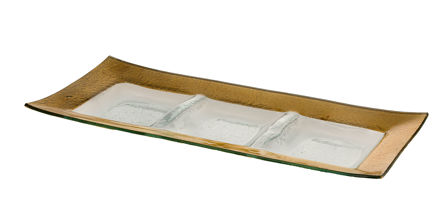Picture of #1208-G Gold Rectangular Tray with 3 sectionals