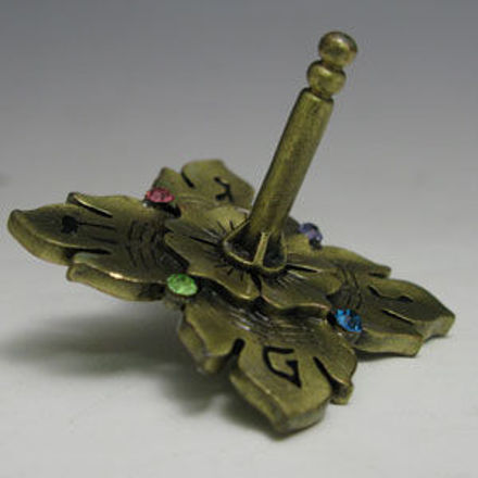 Picture of #7024 Jeweled Dreidel  with Antigue Finish and stones