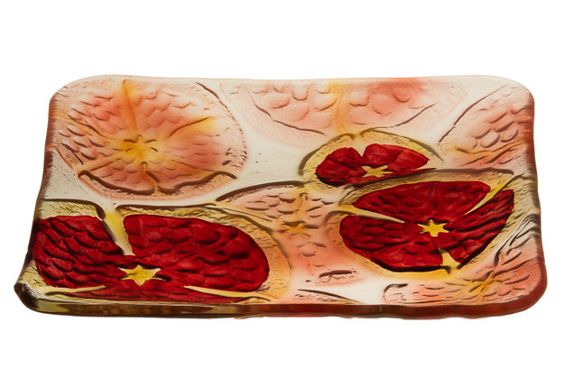 Picture of #826-C Pomegranates Square Glass Plate