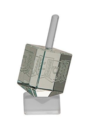Picture of #102 Etched Pale Green Crystal Dreidel
