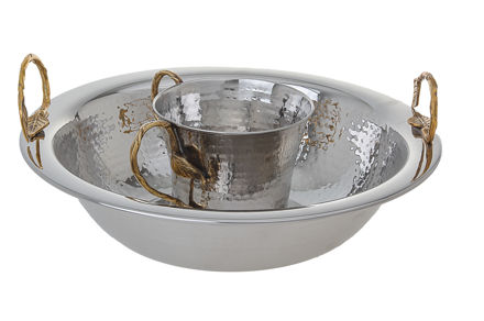Picture of #5754 Wash Cups Stainless Steel with Gold Handle