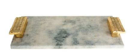 Picture of #1486 Marble Challah board with Gold Handle